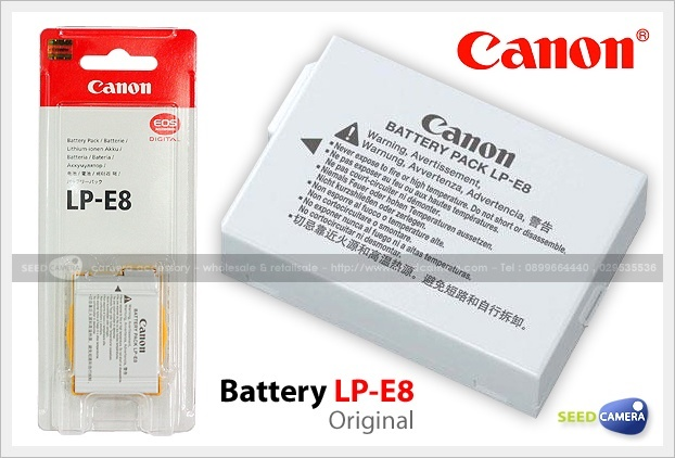 battery canon lp e8 original battery charger seedcamera com. Black Bedroom Furniture Sets. Home Design Ideas