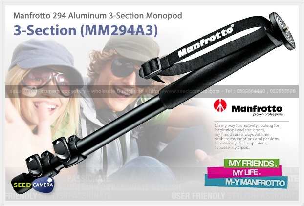 Manfrotto 294 Aluminum 3-Section Monopod (MM294A3)