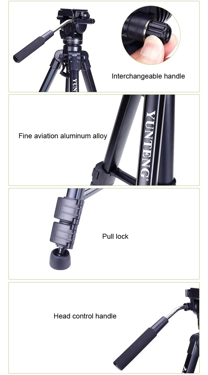 Yunteng Vct 880rm Tripod With Fluid Video Head Yt 880 Aluminum Professional